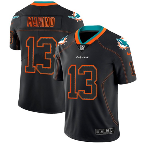 cheap jerseys replica Miami Dolphins #13 Dan Marino Lights Out Black Men\'s Stitched Limited Rush Jersey nfl jerseys 19.99